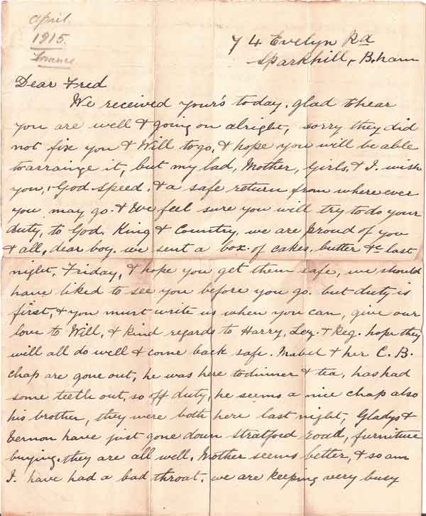 world war i letter Truman's world war i letters below are brief descriptions of the letters contained in the world war i letters folder and hyperlinks to the full-text versions of the letters themselves.